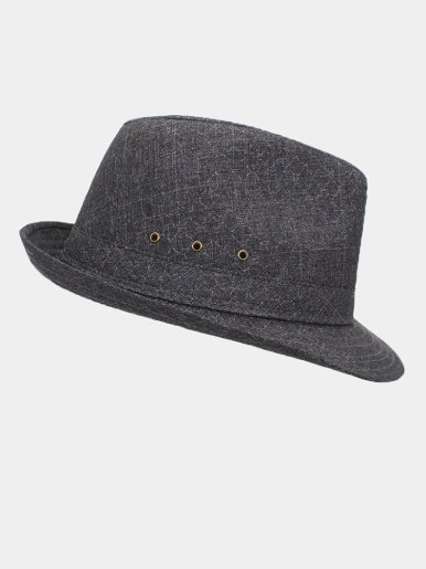 Men's Classic Trilby Check Texture Fedora Hat