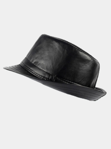 Men's Leather Classic Cowboy Fedora Hat