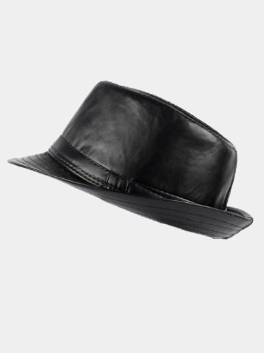 Men's Leather Classic Cowboy Fedora Hat