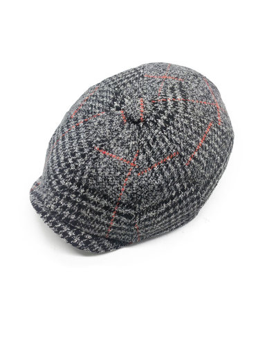 Men's Classic Wool Tweed Beret Flat Cap Hat with Stitching