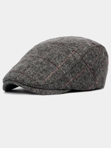 Men's Herringbone Tweed Wool Blend Newsboy Ivy Flat Cap Hat