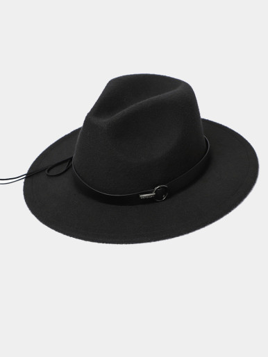 Men / Women Wide Brim Felt Fedora Hat with Band