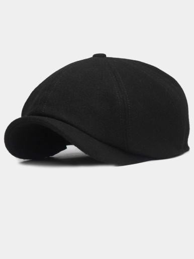 Solid Color Peaked Cap Men Berets