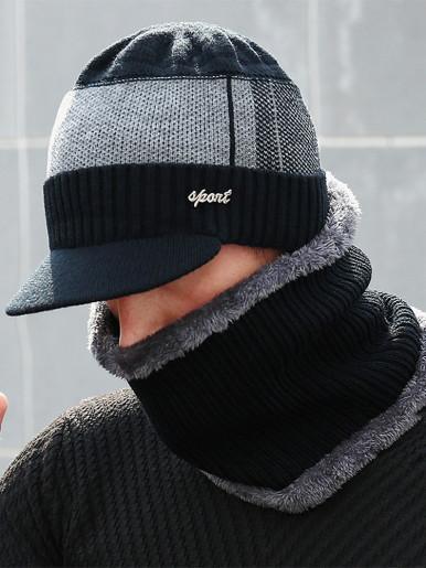 Winter Warm Men Visor Beanie Hat and Neck Gaiter