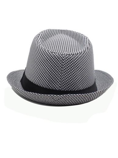Men's Structured Houndstooth Fedora Hat