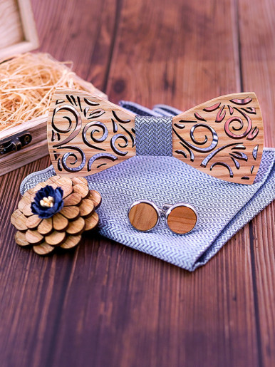 Carve Hollowed-out Wooden Bowtie Sets for Men
