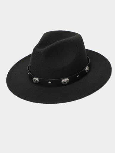 Men / Women Wide Brim Fedora Hat with Stud Belt