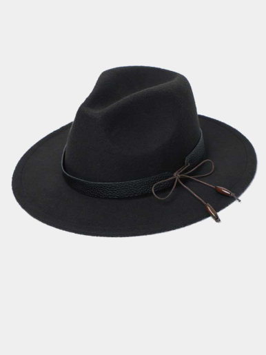 Men / Women Vintage Wide Brim Fedora Hat with Bow Band