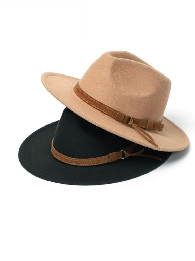Men / Women Wide Brim Fedora Trilby Hat with Leather Belt