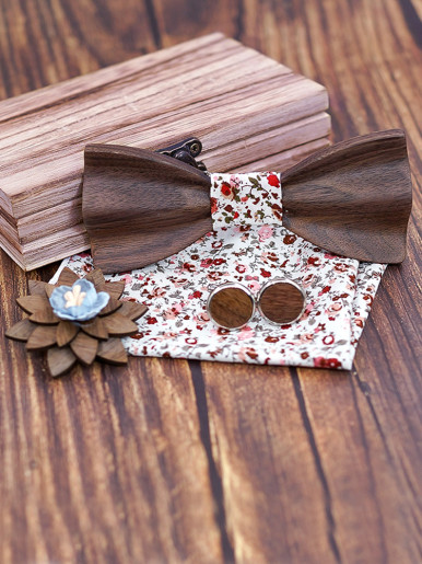 Walnut 3D Carve Bow Ties for Men