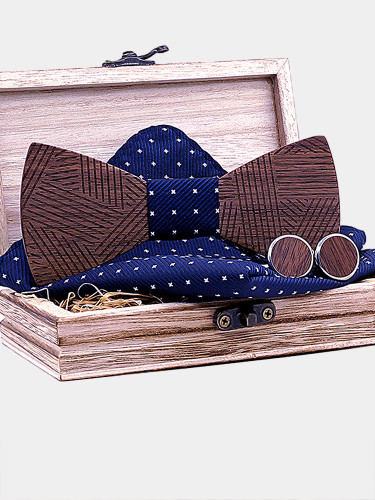 Men's Handkerchief Cufflinks Striped Wooden Bowtie Sets