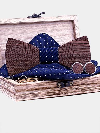 Men's Handkerchief Cufflinks Striped Wooden Bowtie Sets