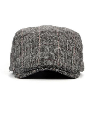 Men's Herringbone Tweed Wool Blend Newsboy Ivy Flat Cap Hat