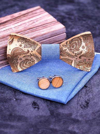 3D Paisley Wooden Bow Ties for Men