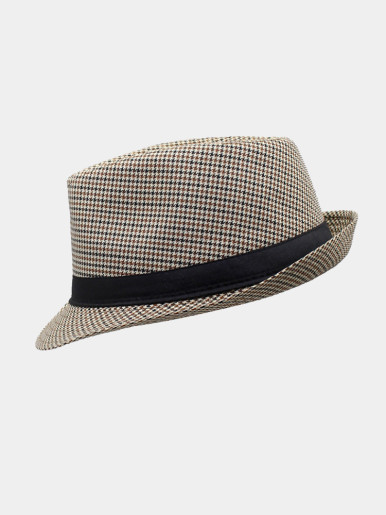 Men's Structured Houndstooth Fedora Hat