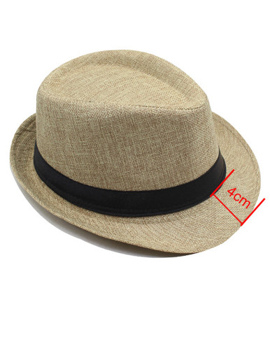 Men's Narrow Brim Fedora Hat with Black Band Detail