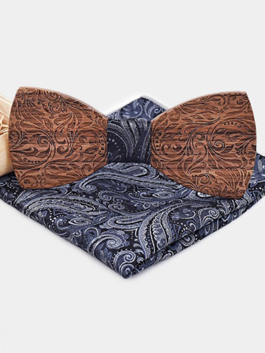 Handkerchief Carve Floral Wooden Bow Ties Sets for Men