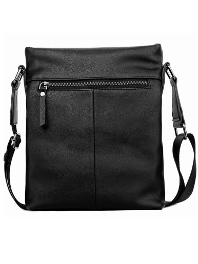 Classic Men Leather Crossbody Bag In Black