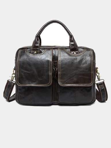 Men's Leather Briefcase Laptop Messenger Bag Satchel