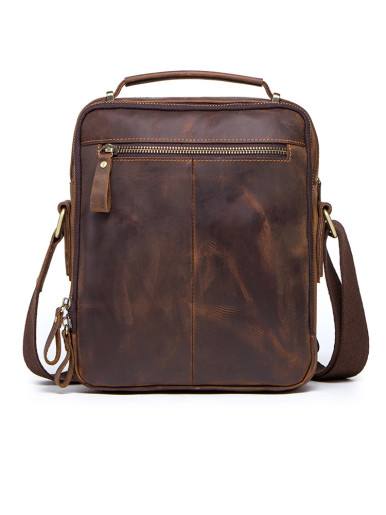 Vintage Leather Satchel Men's Crossbody Bag
