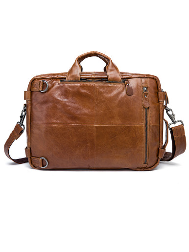 Multifunction Men's Business Leather Briefcase Messenger Bag Laptop
