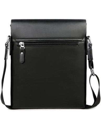 Men's Business Leather Crossbody Bag In Check Texture