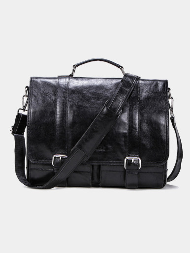 Men's Leather Messenger Bag Business Work Briefcase Laptop