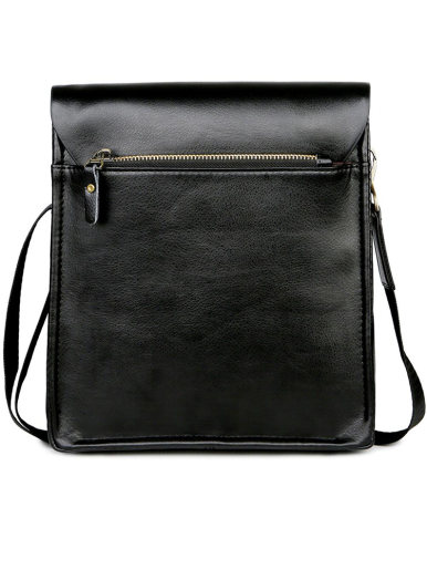 Business Men's Leather Flapover Crossbody Bag