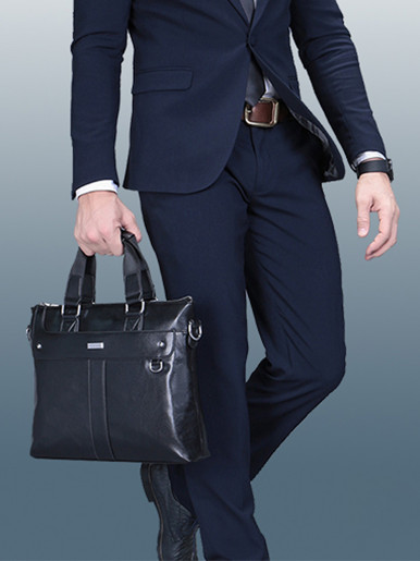 Business Men's Handle Leather Briefcase Laptop Bag
