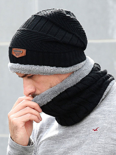 Faux Fur Lined Men Beanie Hat and Neck Gaiter