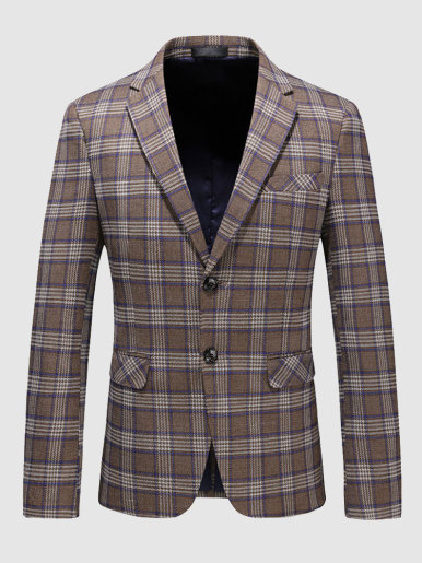 Men's Casual Suit Jacket Khaki Check Blazer