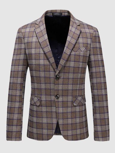 Men's Casual Suit Jacket Khaki Check Blazer