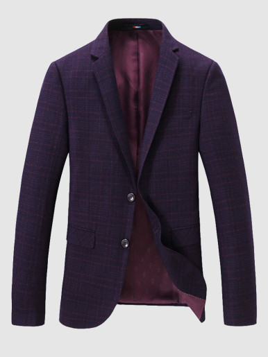 Men's Casual Suit Jacket Check Jacquard Blazer