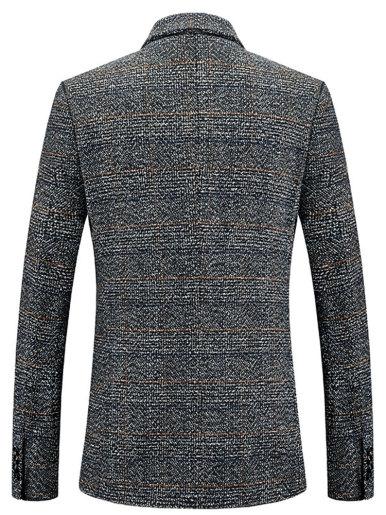 Men's Business Check Blazer Wool Blend Suit Jacket