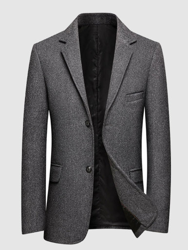 Wool Mix Men Blazer Dark Grey Suit Jacket