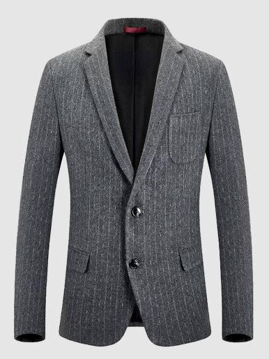 Wool Men's Suit Jacket Stripe Blazer