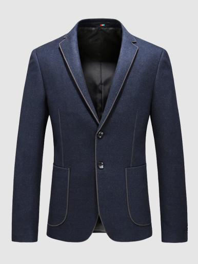 Men's Fitted Blazer Stitching Detail Suit Jacket