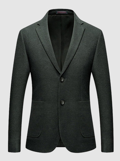 Stitched Wool Blend Casual Blazer Men's Suit Jacket