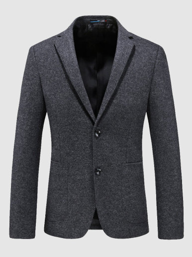 Wool Mix Two Button Peak Lapel Blazer Men Suit Jacket