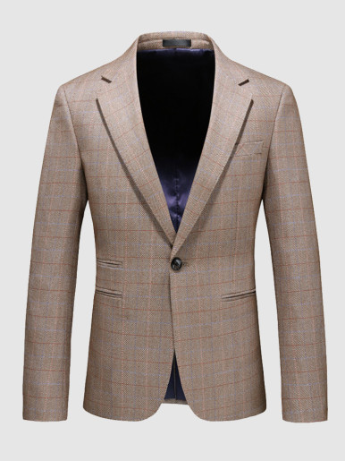 Men's Casual Suit Jacket One Button Check Khaki Blazer