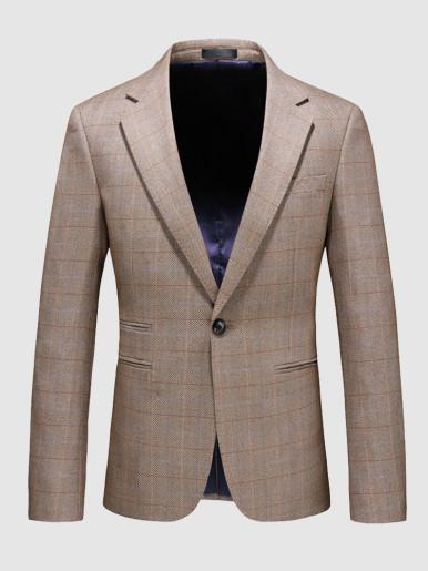 Men's Casual Suit Jacket One Button Check Khaki Blazer