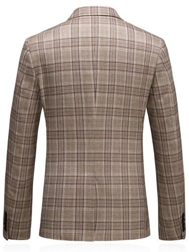 Plus Checked Blazer Men's Suit Jacket