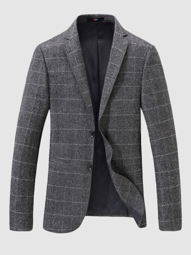Stitched Grey Check Men's Blazer Suit Jacket