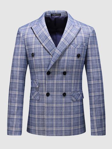 Gentleman Suit Jacket Blue Check Men's Blazer