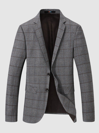 Men's Khaki Check Blazer Two Button Casual Suit Jacket