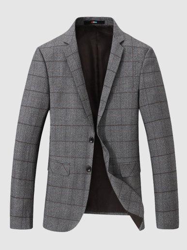 Men's Khaki Check Blazer Two Button Casual Suit Jacket