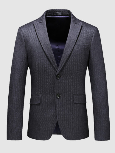 Plus Slim Blazer Stripe Jacquard Men's Suit Jacket