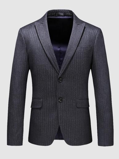 Plus Slim Blazer Stripe Jacquard Men's Suit Jacket
