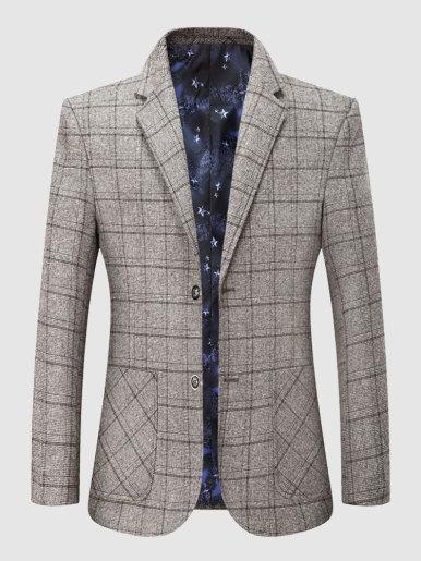 Notched Lapel Check Stylish Blazer Dress Suit For Men
