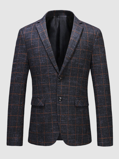 Men's Suit Jacket Blazer with Orange Check and Elbow Patches